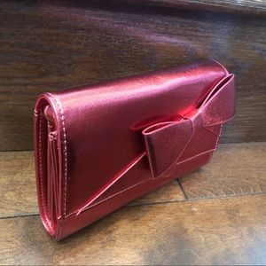 NEW Shiny Red Clutch with Large Bow Purse NWOT